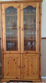 Solid Pine and glass cabinet