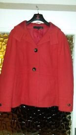 Next Red Autumn/Winter coat with hood - size 20