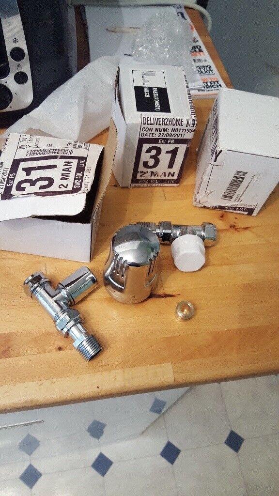Radiator valves brand new in box - 2x chrome 1x white
