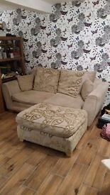 4 seater sofa/ foot stool-camp bed and extra large armchair