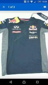 Vettel and Webber signed Red Bull F1 team shirt BNWT