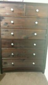 Dark Brown wooden 7 drawers chest only £25