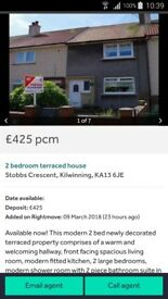 2 bed house in Kilwinning for rent
