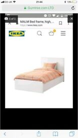 Single malm bed with under bed drawers (white )