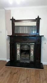 Beautiful mahogany fireplace + matching overmantel + granite hearth