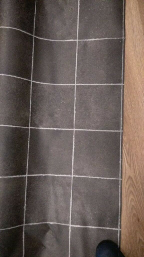Black Tile Effect Vinyl Cushion Flooring 2m X 3m Brand New In