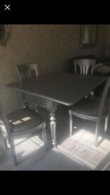 Shabby chic silver painted solid wood table and four chairs