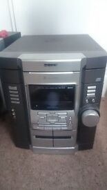 Sony Hi Fi, Silver - 3 CD, 2 cassette, phono/aux input, 2 speakers - great sound