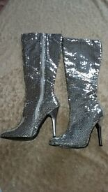 Silver boots covered in sequins size 5.5 or 38/39 (sold as medium size) nearly new
