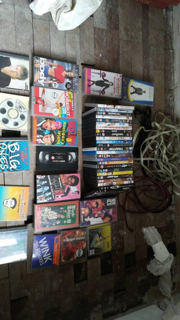 Dvds, cds, vhs job lot