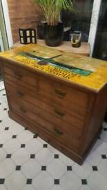 Antique Chest of Solid Pine Drawers, oil painted.