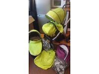 Oyster max 2 double pushchair in lime green (+buggy board, 2colour packs, apron...)