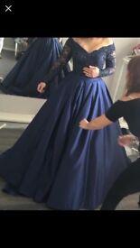 Navy, Off The Shoulder, Princess Prom Dress