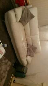 Harvey,s cream leather 3 seater settees