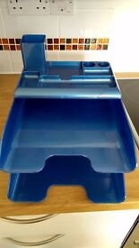 Letter tray, two tier metallic blue with extra tray for accessories