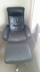 Black chair and foot stool