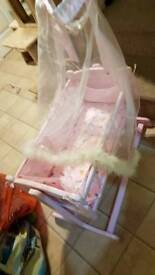 Toy bundle.Dolls pram, cot, baby walker, roller skates