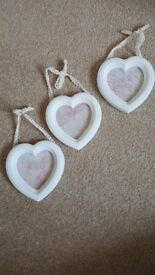 THREE WHITE HEART PICTURE FRAMES FOR SALE