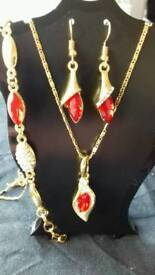 Red droplet jewellery set