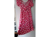 Zara pink and white heart print capped short sleeve jersey tea dress, size M