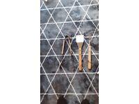 Large steel wood abd metal garden bbq utensils. All new