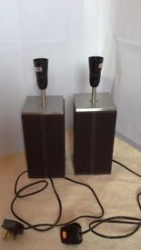 """2 faux leather brown lamp bases, 15"""" tall."""
