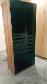 Black gloss double door wardrobe