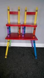 Crayon themed table and chairs