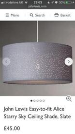 John Lewis slate starry night Ceiling lamp shade