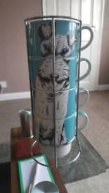 Set of large mugs with dog design