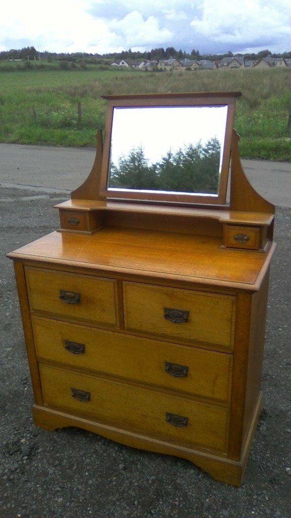 WOW beautiful large vintage solid oak dressing tablein Bonnybridge, FalkirkGumtree - WOW beautiful large vintage solid oak dressing table, tilting mirror, two trinket box drawers above a two over two drawer chest in robust condition, has a few age related light scuffs here and there, nothing major measures approx. 36 inches to top of...