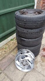 """Lot of 5 x Hyundai 15"""" Steel Wheels & Tyres with 4 free trims"""