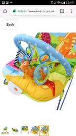 Musical vibrating bouncy chair