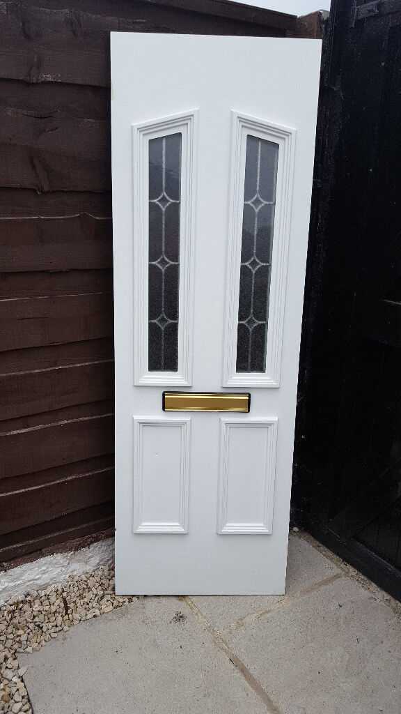 White UPVC Front Door Panel 626mm Wide x 1860mm Height 28mm thick ...