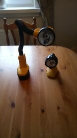 Two used Dewalt 18 v Torches, with battery, swan neck and flexible, GWO, see photos & details