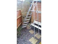 Long step ladders aluminium 8 foot high painter electricians builder with platforn handrail