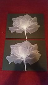 Set of 2 black and grey flower canvasses