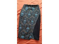 River Island blue, gold and black floral geometric pencil skirt, size 6, wanting £15