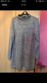 Ladies grey jumper dress choker neck size 14 new