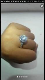 18k white gold filled swarovski crystal ring