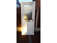 UPVc Half Glazed Door with Leaed Window and Brass Effect Handle and Letterbox