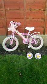 "Girls 14"" bike with stabilizer"
