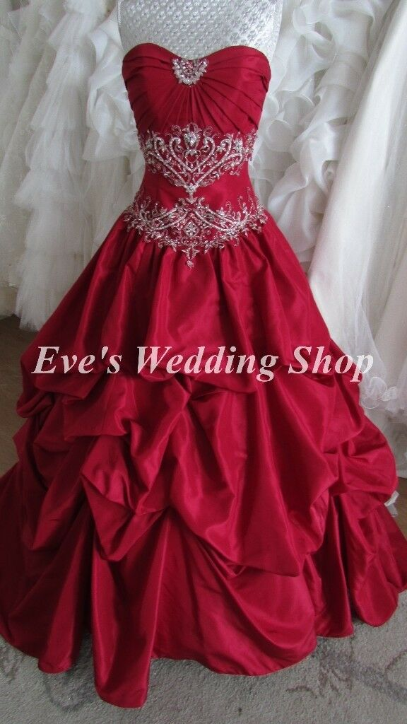 Ruby Color Wedding Dress Uk Size 6 8