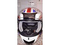"""Union jack motorbike helmet, size, 63-64cm """"XXL"""" Reduced £30"""