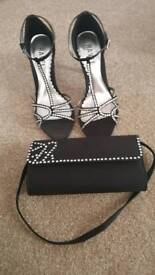 Black satin cocktail shoes and bag new