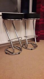 Pair of immaculate chrome and leather kitchen bar stools.