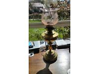 Antique Brass Victorian Oil Lamp