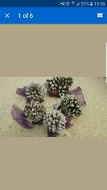 5 Christmas/wedding hand decorated large fur cones
