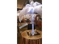 Ostrich Feather Centrepieces for Wedding decorations great gatsby chair covers