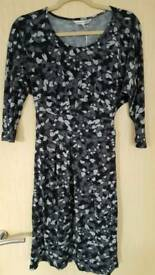 LAURA ASHLEY BLACK, CHARCOAL & GREY PATTERN DRESS - SIZE 10 - BRAND NEW WITH TAGS